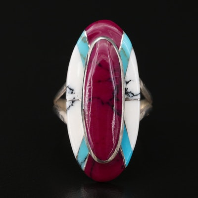 Southwestern Style Sterling Silver Turquoise and Howlite Pointer Ring