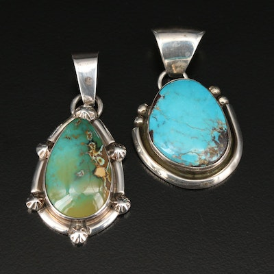 Southwestern Sterling Silver Turquoise Pendants
