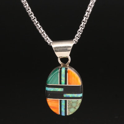 V. Yazzie Navajo Sterling Silver Gemstone Inlay Mosaic Pendant Necklace