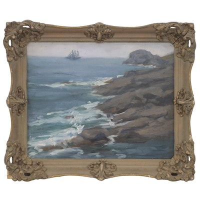 Coastal Landscape Oil Painting, Early to Mid 20th Century