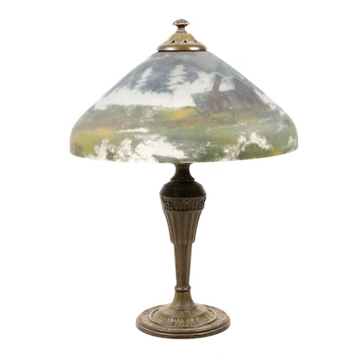 Reverse-Painted Landscape Glass Shade Table Lamp, Vintage