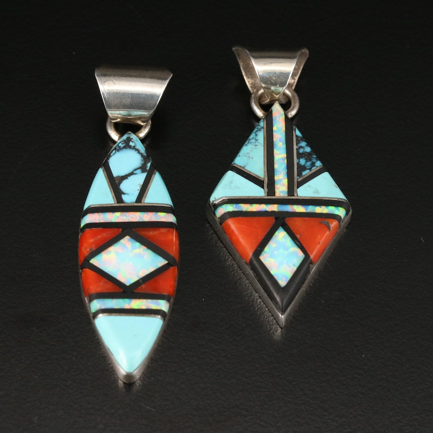 V. Yazzie Navajo Sterling Silver Gemstone Inlay Mosaic Pendants Including Coral