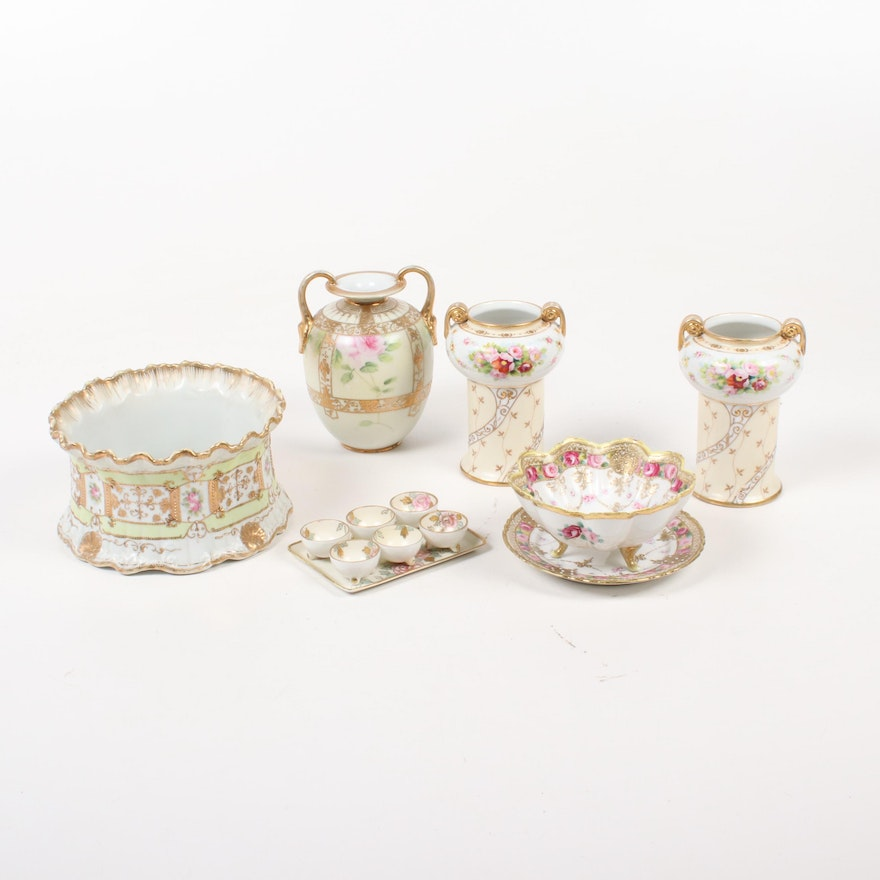 Nippon Hand-Painted Porcelain Vases and Table Accessories