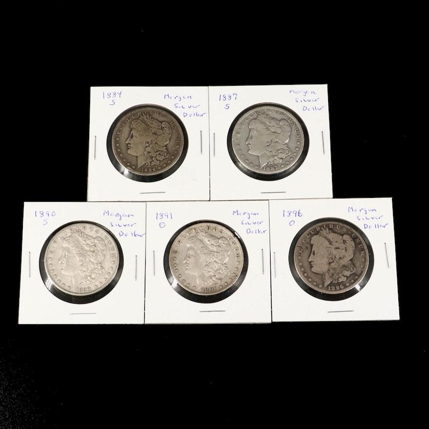 Five Morgan Silver Dollars, 1884 to 1896