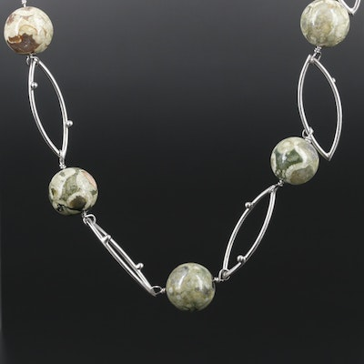 Sterling Silver Jasper Bead Necklace