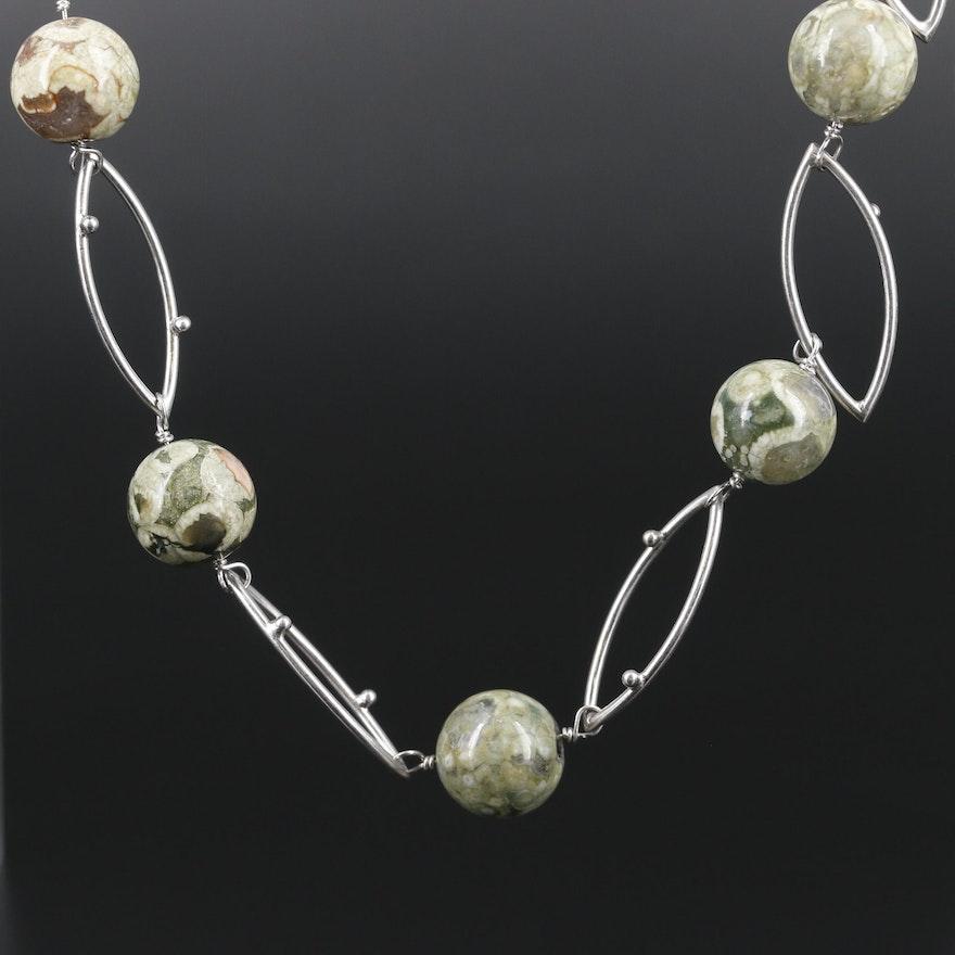 Sterling Silver Jasper Bead Necklace