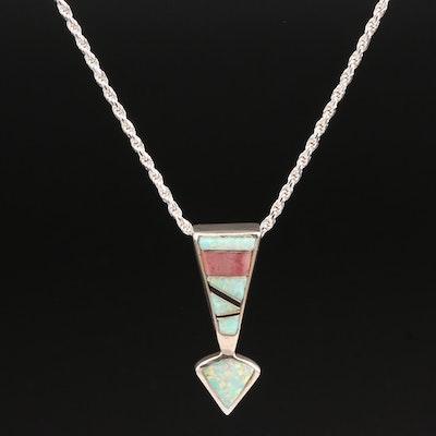 Southwestern Style Mosaic Inlay Pendant Necklace