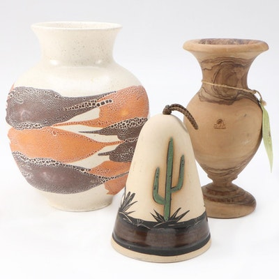 "Royal Haeger ""Earth Wrap"" Vase, Olive Wood Vase and Southwestern Bell"