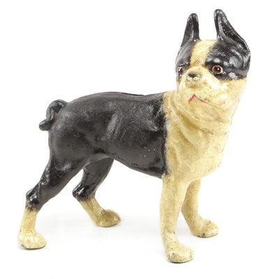 Boston Terrier Cast Iron Still Bank, Early 20th Century