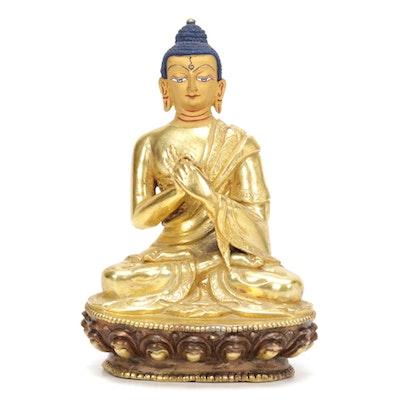 Tibetan Gilt and Patinated Bronze Dharmachakra Buddha, 20th Century
