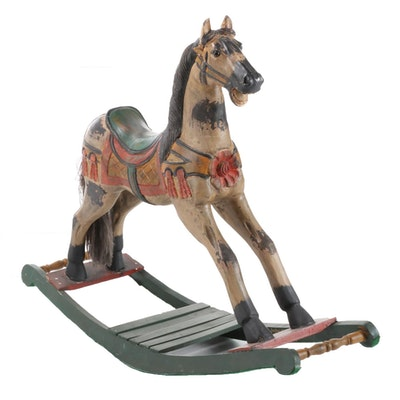 Victorian Style Carved and Polychrome Painted Wood Rocking Horse, 2001