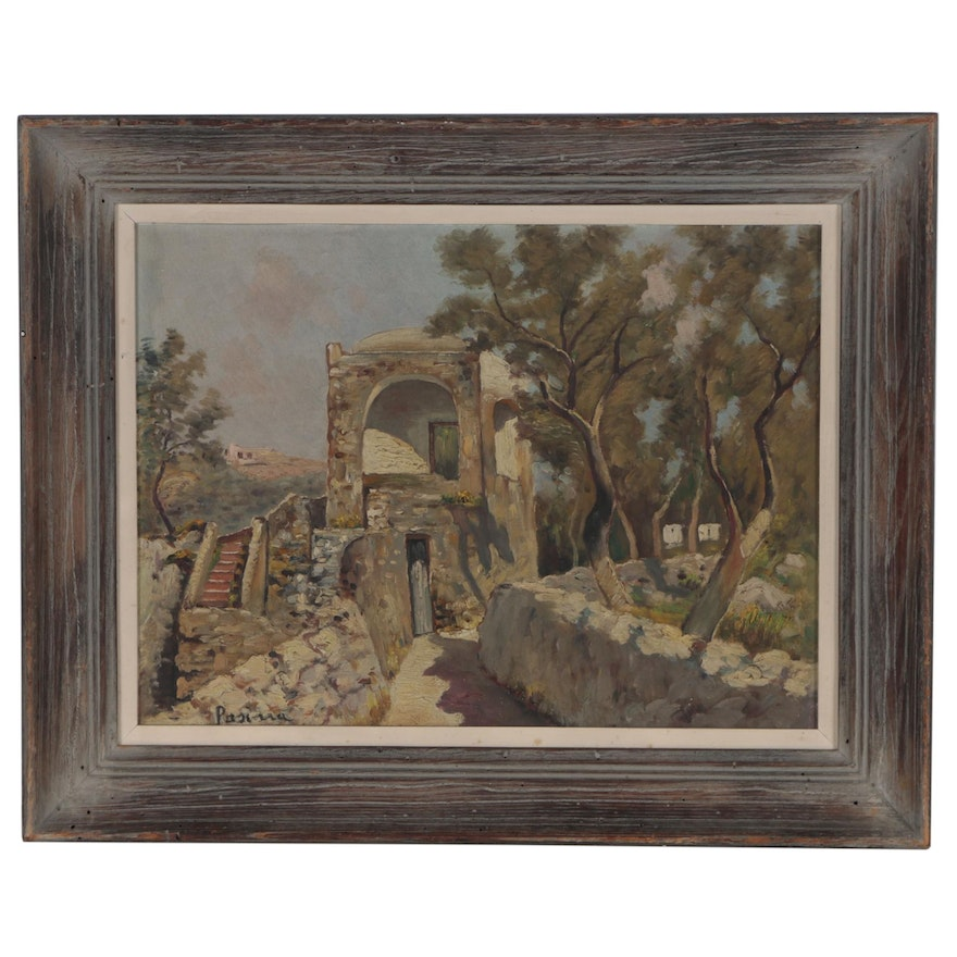 Landscape with Masonry Oil Painting