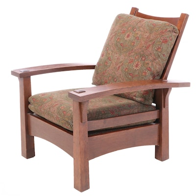 Stickley Arts & Crafts Oak Reclining Armchair, Late 20th Century