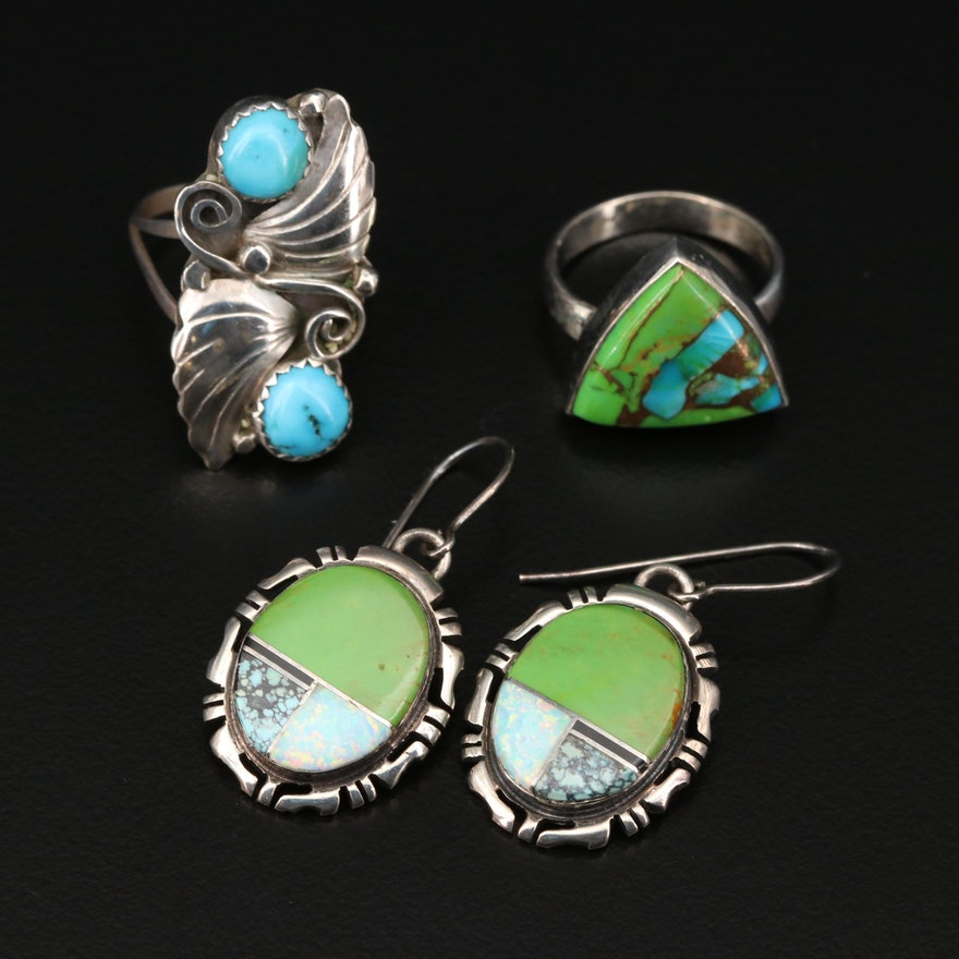 Sterling Silver Turquoise and Synthetic Opal Inlay Earrings and Rings