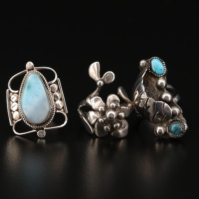 Sterling Silver Rings with Larimar and Turquoise