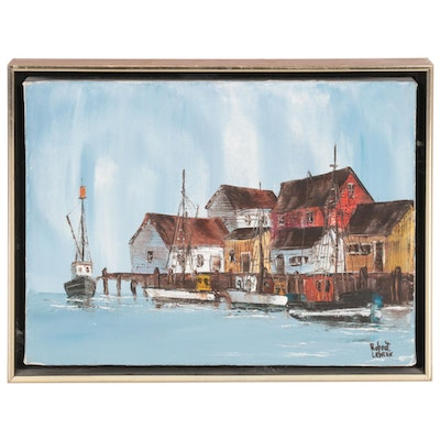 Robert LeBron Harbor Scene Oil Painting