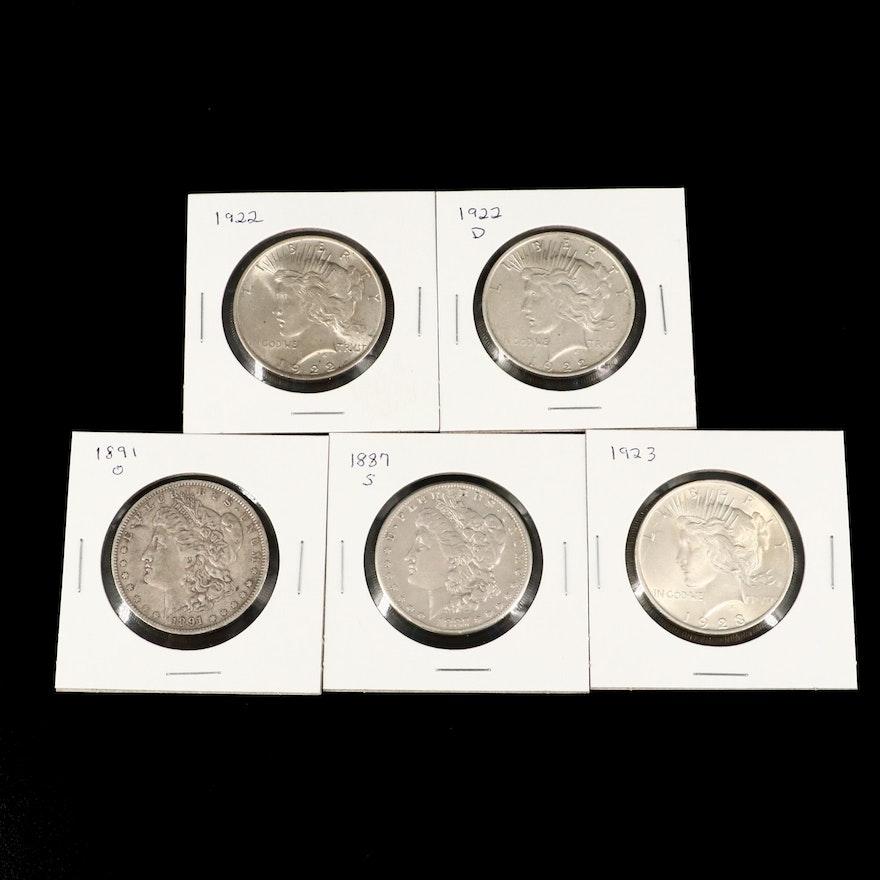 Two Morgan and Three Peace Silver Dollars