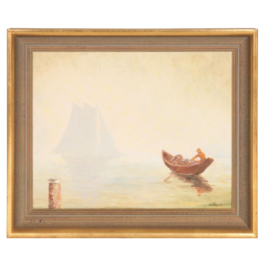 Harbor Scene Oil Painting, Mid-20th Century