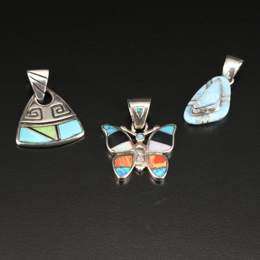 Southwestern Style Sterling Gemstone Pendants Featuring Betty Thomas Navajo Diné