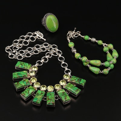 Sterling Silver Turquoise and Gaspeite Necklace, Bracelet and Ring
