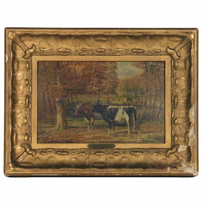 Clinton Loveridge Oil Painting of Cows in a Pasture, 19th Century