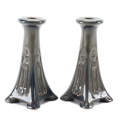 Pair of Rookwood Pottery Art Deco Style Green Glaze Candlesticks, 2015