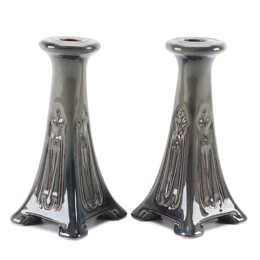 Pair of Rookwood Pottery Art Deco Style Green Glaze Candlesticks, 2015