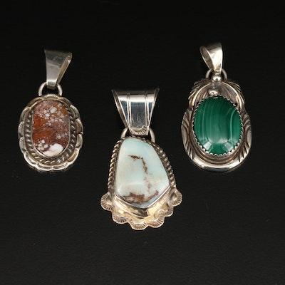 Southwestern Style Sterling Silver Gemstone Pendant Including Signed Victor V.