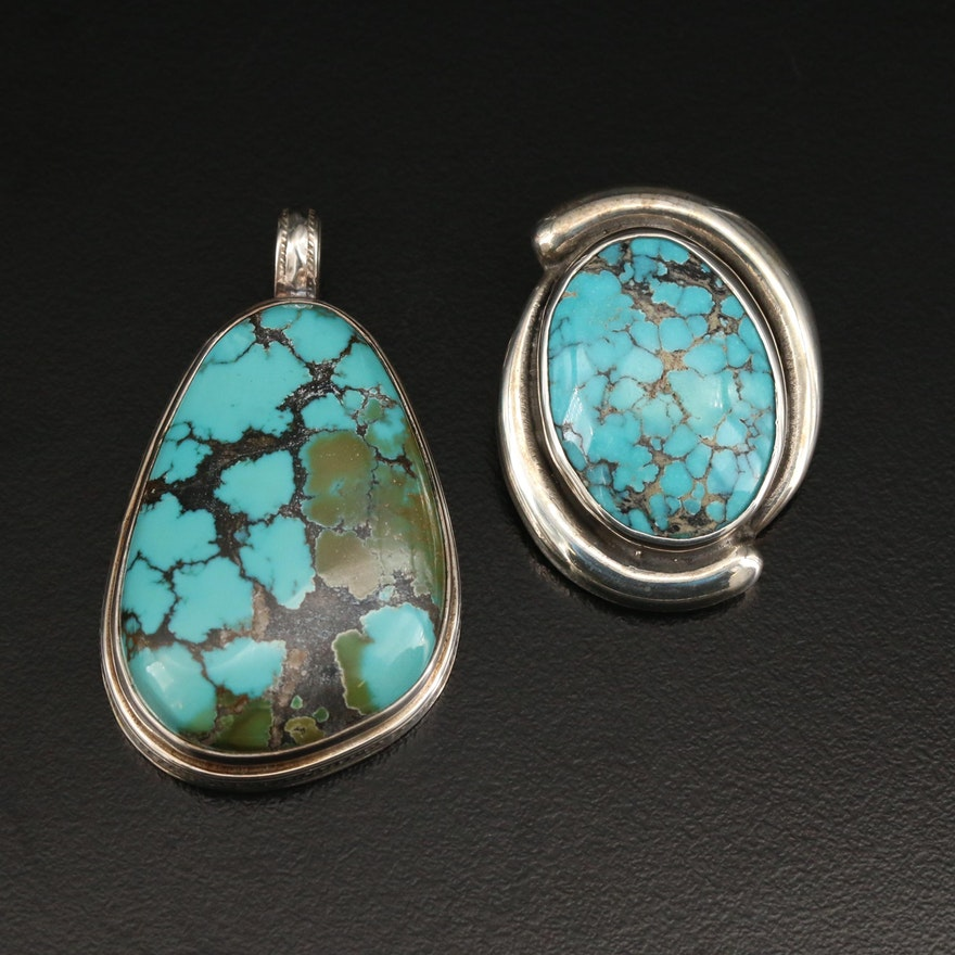 Signed Vincent Southwestern Sterling Silver Turquoise Pendants
