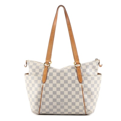 Louis Vuitton Totally PM Bag in Damier Azur Canvas and Vachetta Leather