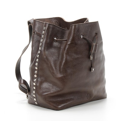 Brown Leather Studded Drawstring Backpack Purse
