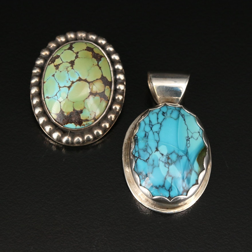 Vincent Southwestern Style Sterling Turquoise and Jasper Pendants