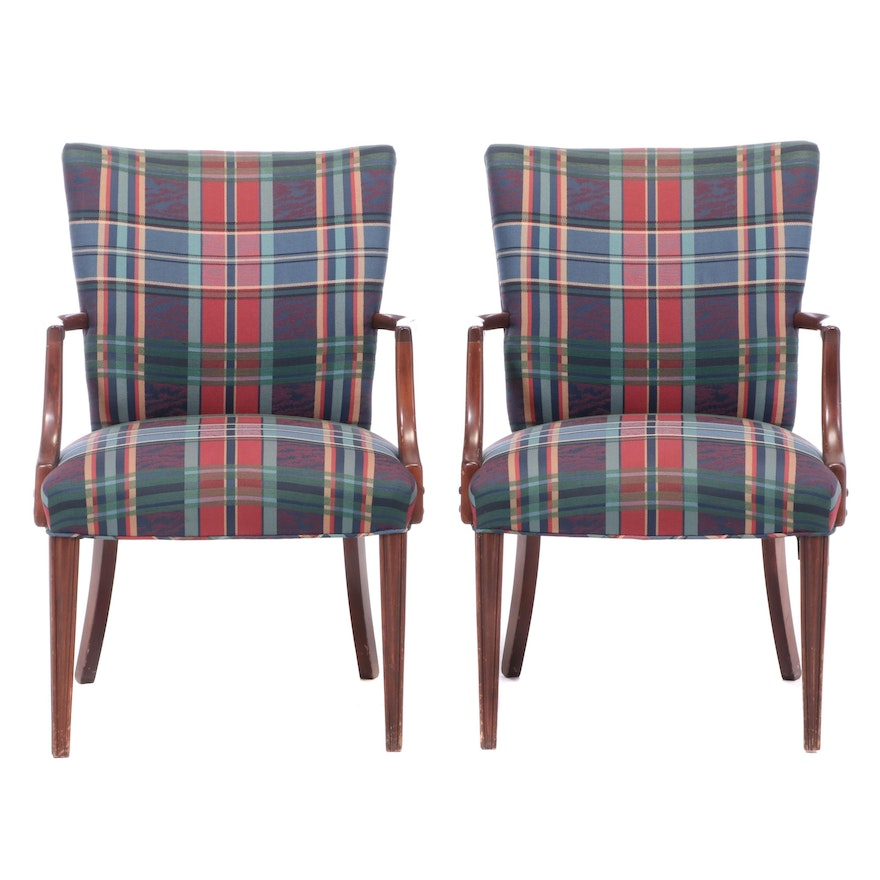 Hepplewhite Style Mahogany Upholstered Armchairs, Mid to Late 20th Century