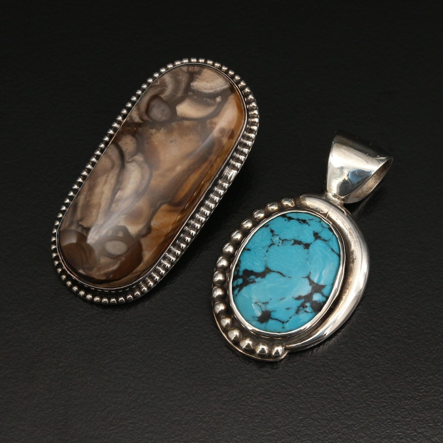 Vincent Southwestern Style Sterling Silver Pendants With Turquoise and Jasper