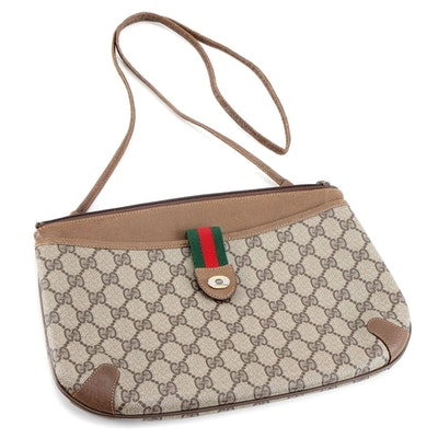 Gucci Accessory Collection GG Signature Canvas Web and Leather Two-Way Bag