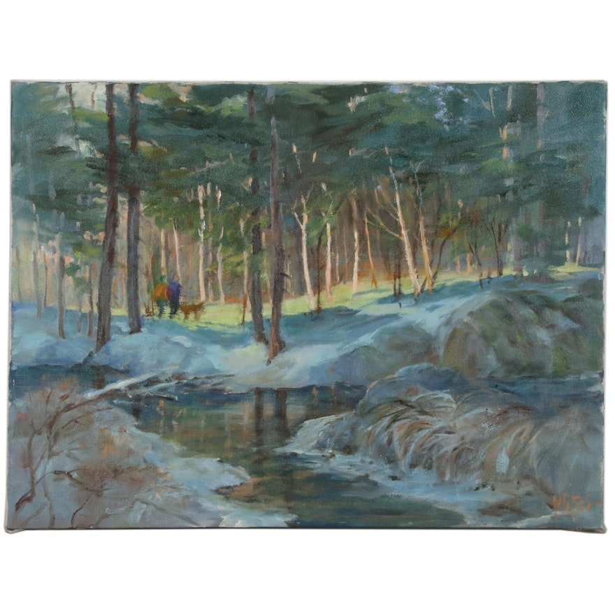 Mitzi Goward Woodland Landscape Oil Painting