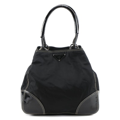 Prada Nero Tessuto Nylon and Patent Leather Shoulder Bag with Contrast Stitching