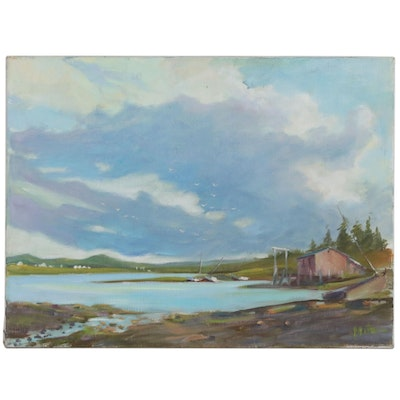 "Mitzi Goward Oil Painting ""Winter Harbor"", Mid 20th Century"