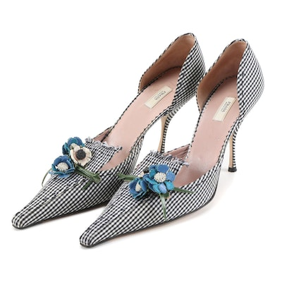 Prada Vichy Flower and Black and White Gingham D'Orsay Pumps