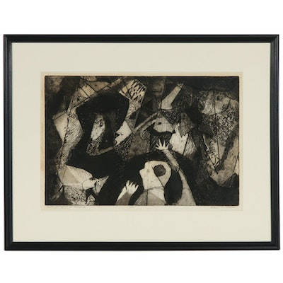 "Helen O. Stein Aquatint Etching ""Anthropologist at Lascaux"", 20th Century"
