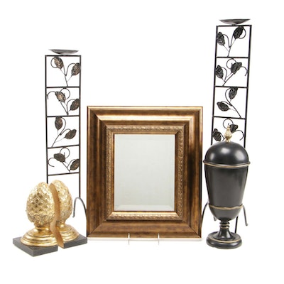 Coventry Finial, Mirror, Pineapple Bookends and Candle Holders