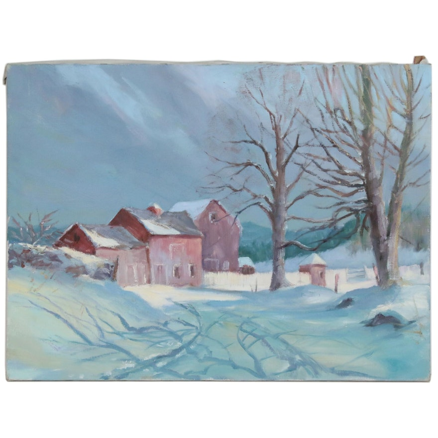 Winter Farm Landscape Oil Painting, Mid 20th Century