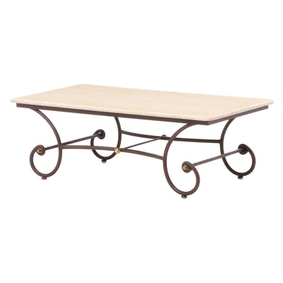 Contemporary Scrolled Metal and Painted Wood Coffee Table