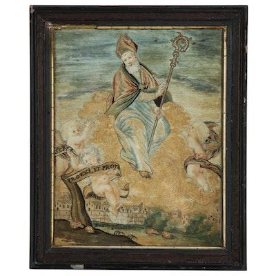 Georgian Silk Embroidery Panel of Roman Catholic Saint Nicholas, 18th Century