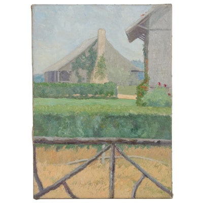 Farm Landscape Oil Painting, Early 20th Century