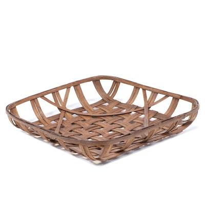 Woven Wood Tobacco Basket, Late 20th Century