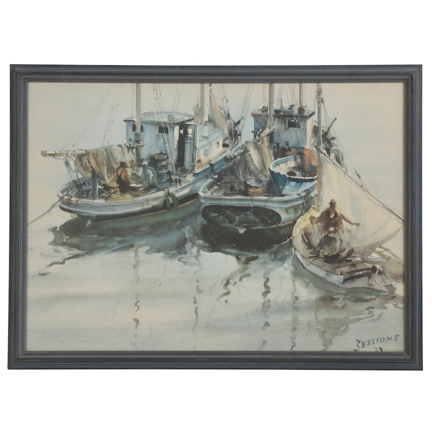 "Offset Lithograph after James Sessions ""Fishing Boats in Harbor"""