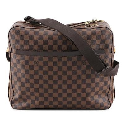 Louis Vuitton Dorsoduro Messenger Bag in Damier Ebene Canvas and Brown Leather