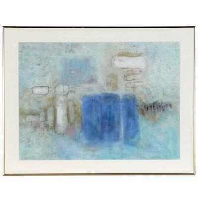 "Houlgate Davenport Abstract Gouache Painting ""Bare Bones I"""