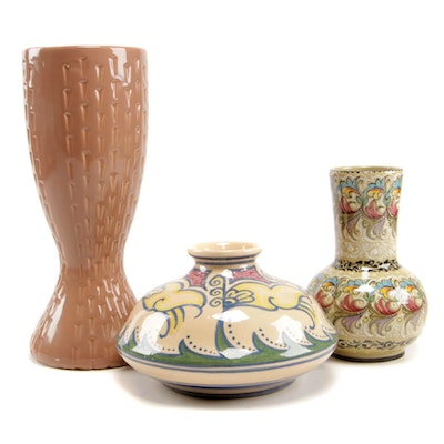 Hand-Painted American and Italian Ceramic Vases, Mid to Late 20th Century